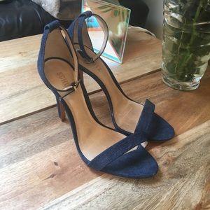 Schutz Cady Lee Denim Ankle Strap Heels